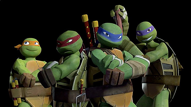 The Turtles share the majority of design elements, with the separating elements being in the minority. The fact, that the color coding is always on the head bandana, makes the color coding more obvious.