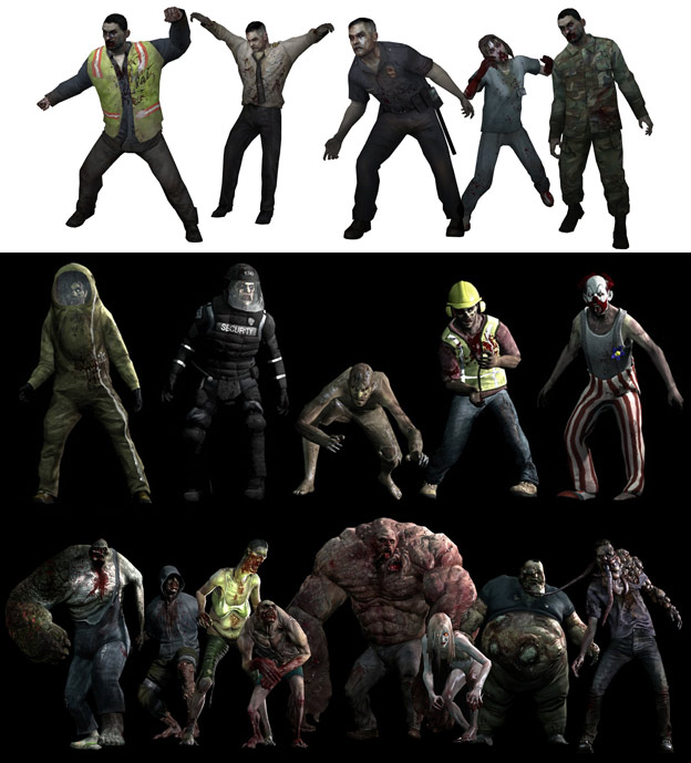 In Left4Dead2 we have to groups fighting each other, humans versus infected. Within the infected group – signified by a pattern of special skin colors, empty eyes and necrosis – there are sub patterns to separate common infected from uncommon infected and special infected.