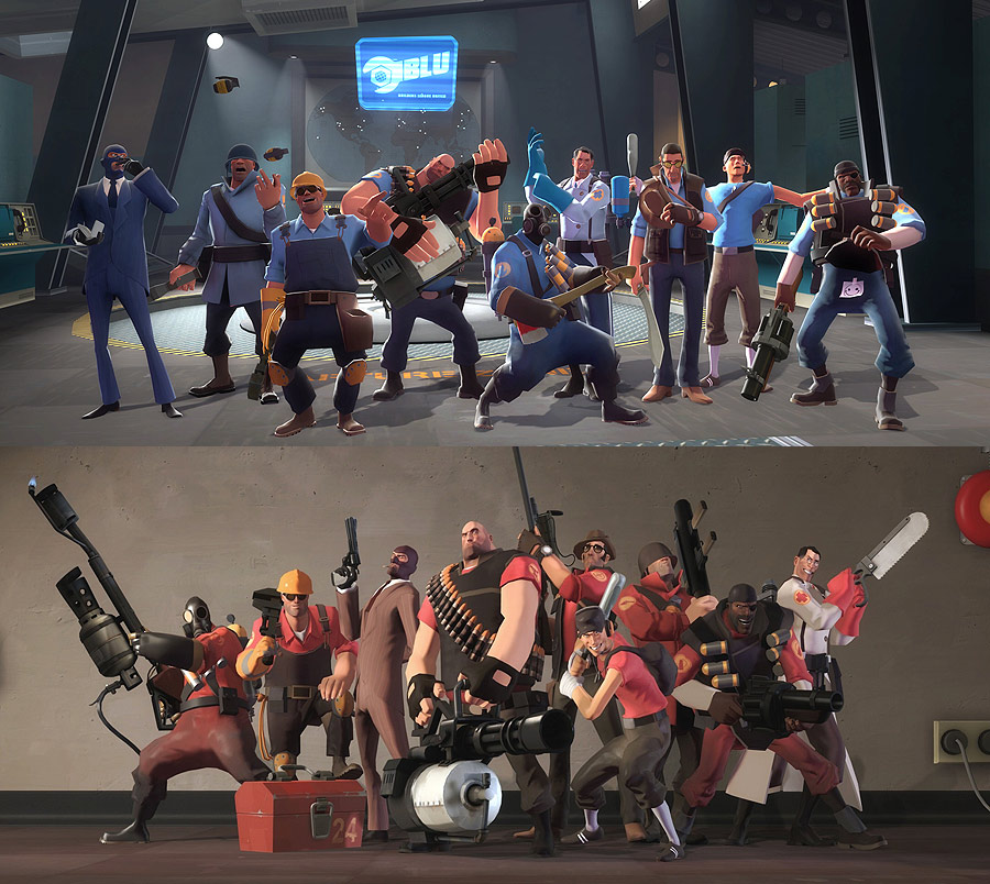 Note how each character's outfit is a pattern of grays and muted browns, to not take attention away from the color coding. Blue elements and red elements are used to group the individual character classes into two teams and to connect them to each team's bases.