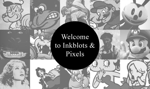 inkblots and pixel cartoons and games