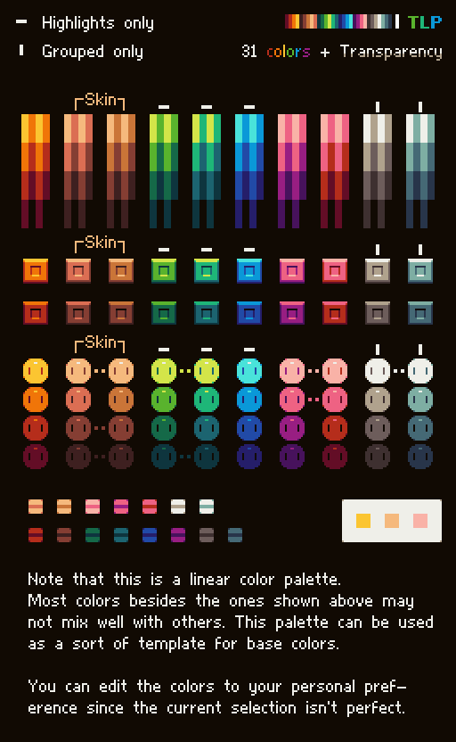 color palette for pixel artists