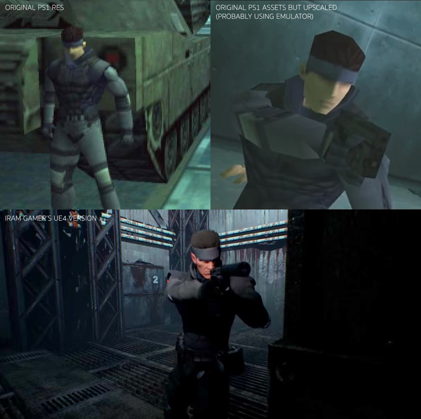 metal gear ps1 playstation and unreal engine 4 comparison