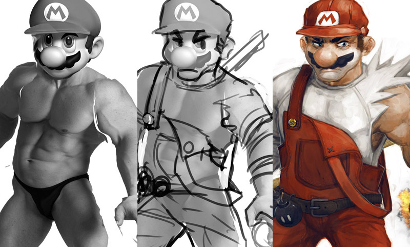 super mario concept art tutorial