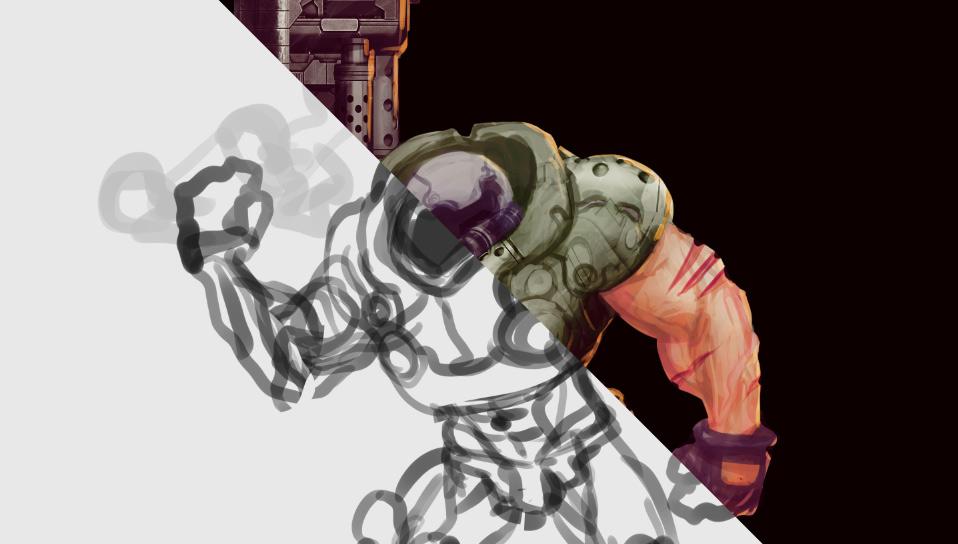 concept art process gif doom
