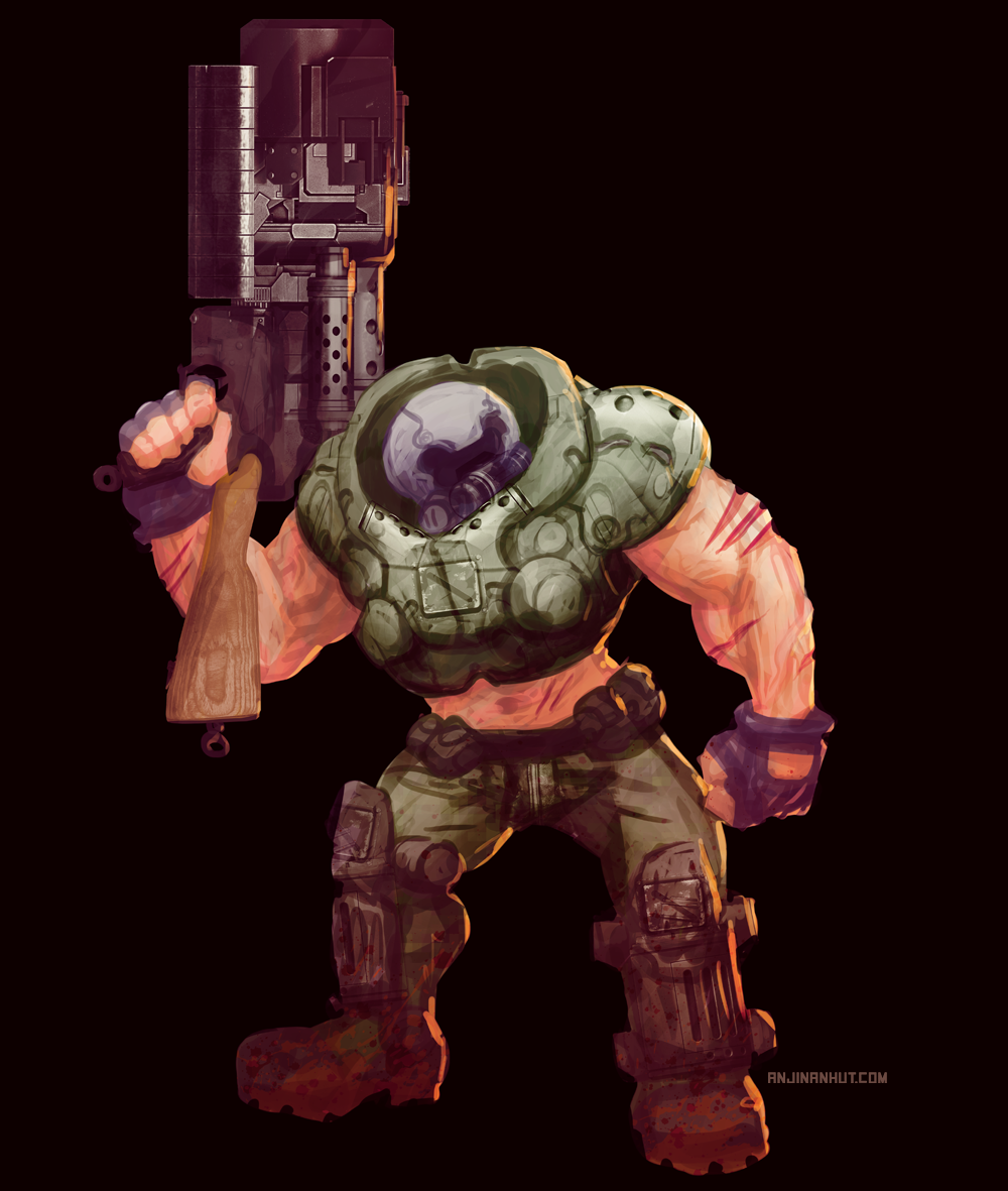 doom guy concept art doom